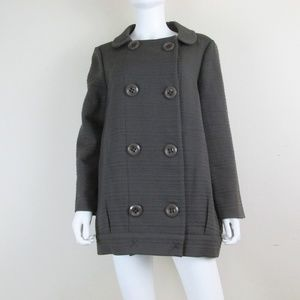Hoss Intropia Gray Wool Blend Pea Coat 42